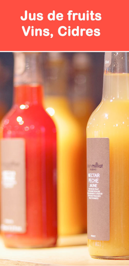 Jus de fruits, cidres, vins